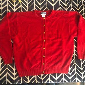 Red Pendleton virgin wool cardigan